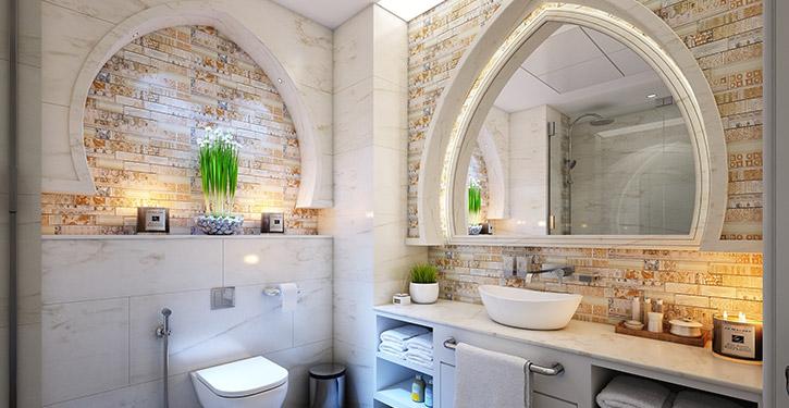 Nietypowa łazienka, której styl możemy określić jako bliskowschodni. Podoba się Wam?
